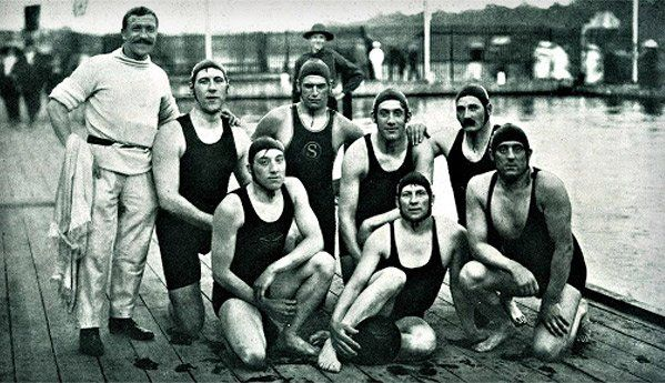 The great Welshman Paulo Radmilovic won 4 Olympic golds. Here he is (far right kneeling) in 1912 GB water-polo team.