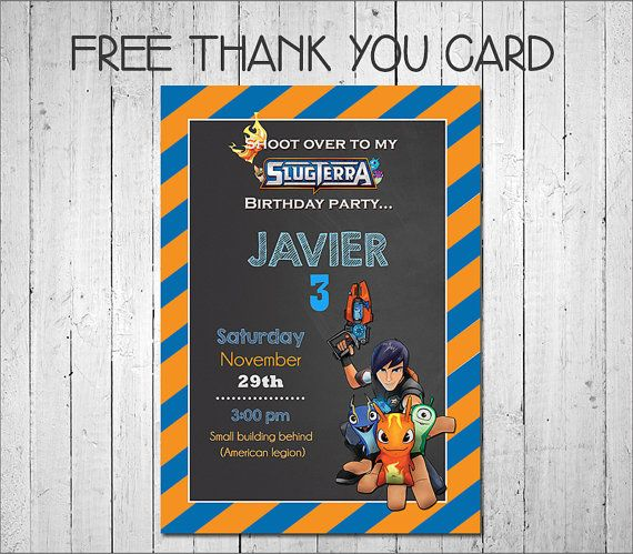 Slugterra Invitation FREE Thank you card by MayPartyPrintables