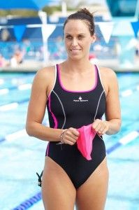 We chat with Amanda Beard about her workouts in and out of the water, and how she keeps a healthy body image!