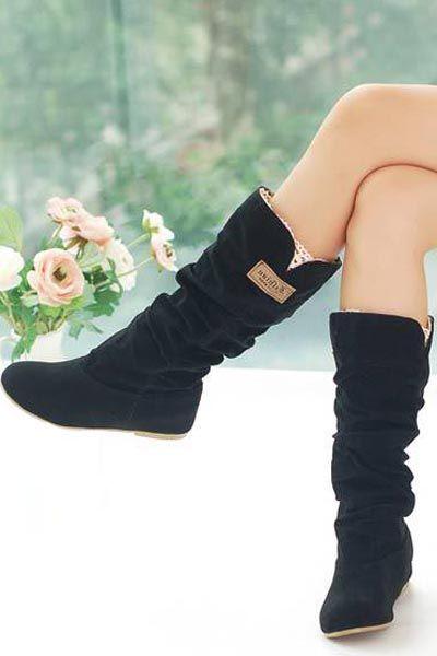 Black+Scrub+Lacy+Trim+Slouchy+Mid+Calf+Boots+#Black+#Boots+#maykool