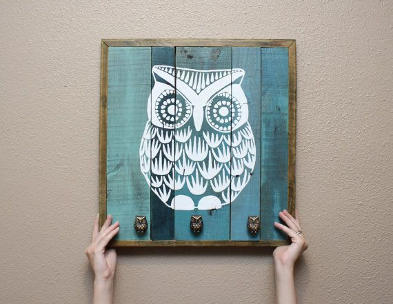 Owl painting wall art with functional knobs