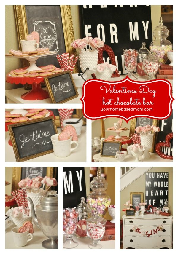 Valentines Day Hot Chocolate Bar @yourhomebasedmom.com  #valentinesday, #hotchocolatebar
