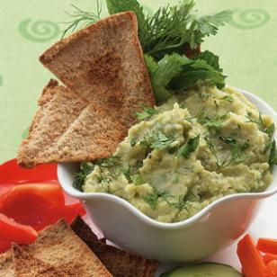 Lima Bean Spread with Cumin & Herbs    Humble limas are transformed into a sensational Mediterranean spread that is vibrant with a mix of fresh herbs and spices. You can substitute frozen edamame beans for the limas in Step 1; cook according to package directions.