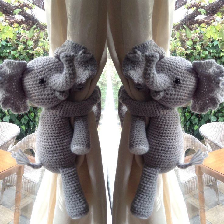 A pair of Elephant nursery curtains tie backs, nursery decorations, new baby gift, new parents gift, children bedroom decor, animal tie back by NameMeCrochetie on Etsy https://www.etsy.com/listing/543461414/a-pair-of-elephant-nursery-curtains-tie