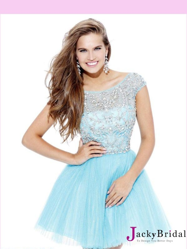 pictures of Red/Blue Beading Tulle 2013 Short Prom Dress APR230107 for Lola