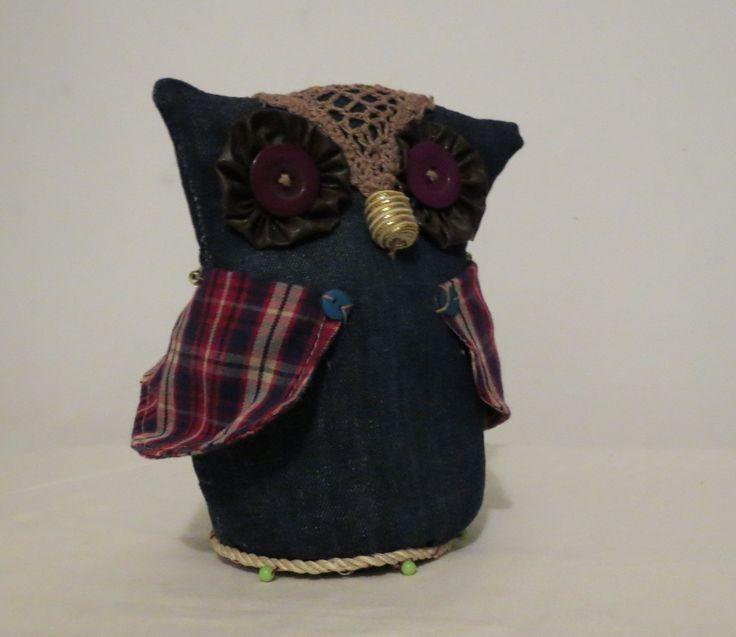 Coruja Decorativa - Jeans Owl Decoration - Jeans.