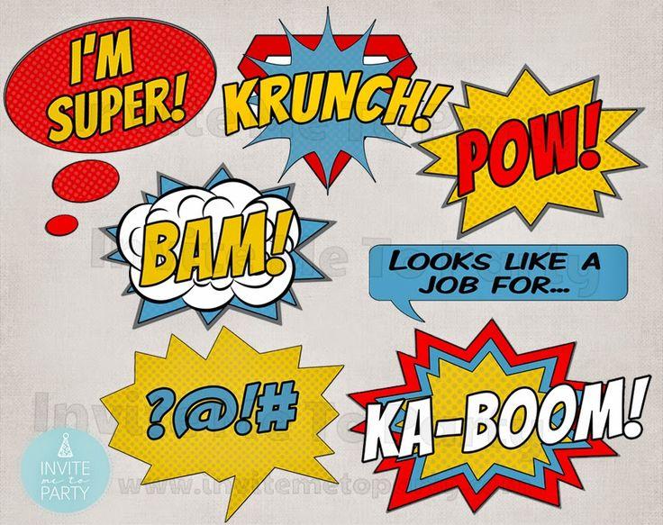 Comic Party Printable Photo Props   Invite Me To Party: Supehero Party Table Backdrop / Superhero Photobooth Backdrop / Superhero Photo Props
