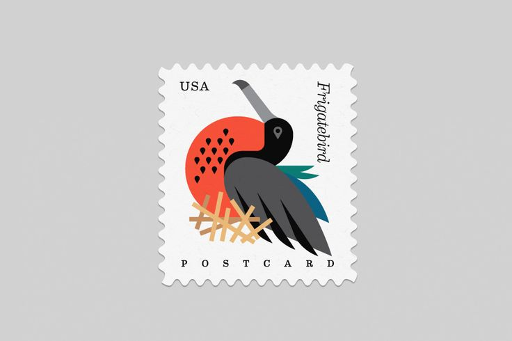 A series of postcard stamps designed by Always with Honour for the U.S. Postal Service celebrating a handful of the nation's coastal birds.