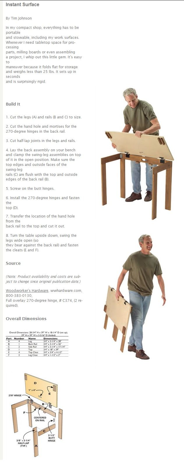 tavolo portatile fai da te