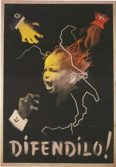 """Mussolini WWII Propaganda - """"fascist techniques:"""" fear-mongering; dark (literally); youth-centric (""""save our children/youth!"""")"""