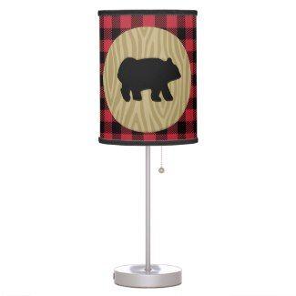 Black Bear Lumberjack Pattern Nursery Lamp