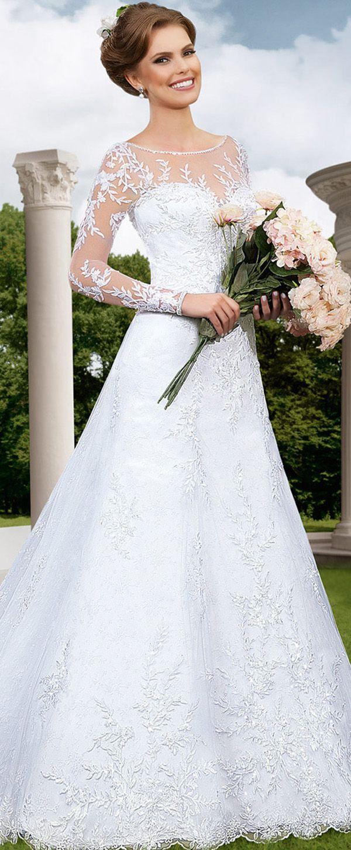 Graceful Tulle Bateau Neckline A-line Wedding Dresses with Beaded Lace Appliques