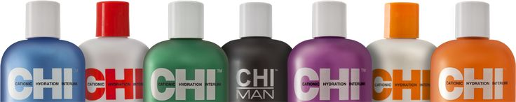 CHI Ionic Color Protector system, CHI Infra, Nourish Intense, Curl Preserve, CHI Thermal Styling, Magnified Volume, Deep Brillance and CHI Man