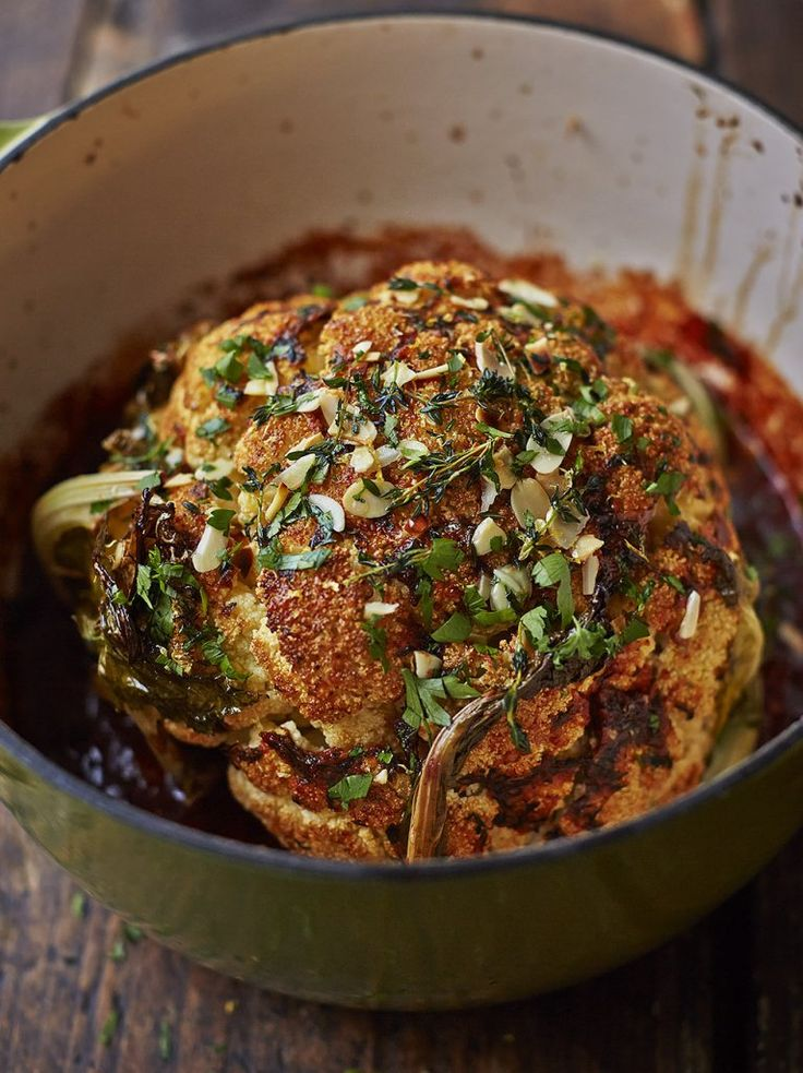 "Whole roasted cauliflower ""For a vegan alternative to a classic roast, this spiced, roasted cauliflower is just the ticket """