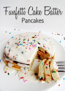 Funfetti Cake Batter Pancakes with Rainbow Chip Icing Syrup