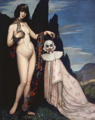 Angel Zarraga (1886-1946) Mexican Artist Woman and Puppet 1909