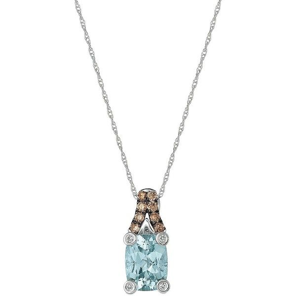 Le Vian Chocolatier Aquamarine, Diamonds and 14K White Gold Pendant... ($613) ❤ liked on Polyvore featuring jewelry, necklaces, white gold, 14k necklace, white gold diamond necklace, 14k white gold pendant, 14 karat white gold necklace and aquamarine pendant necklace