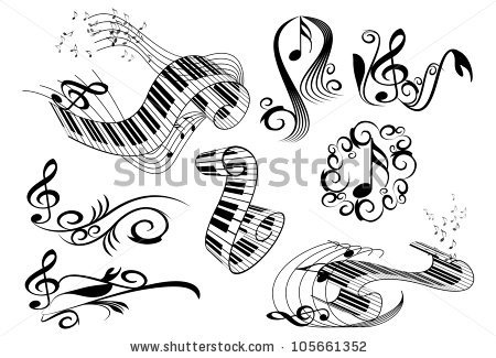 stock vector : music key notes an piano keyboard with