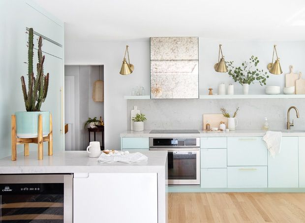 Step Inside This Modern Millennial Kitchen With Mint Cabinets Beautiful Kitchens Kitchen Trends Home
