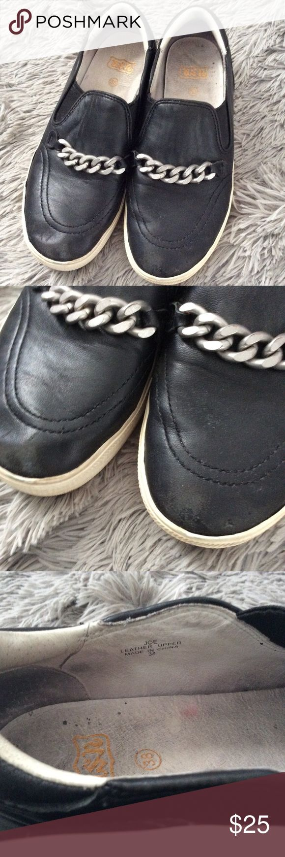Ash Sneaker Black Leather Chain Slip On JOE Sz 38 Ash Black Leather Sneaker Style JOE Black Leather with Chain detail Size 38 these have some condition issues as the leather has wear and scuffs at Front toe area, some all over marks scuffs, sole shows wear, some dirt to foot beds Ash Shoes Athletic Shoes