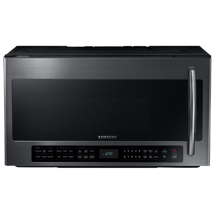 Samsung 2.1-cu ft Over-the-Range Microwave with Sensor Cooking Controls (Black Stainless Steel) (Common: 30-in; Actual: 29.875-in)