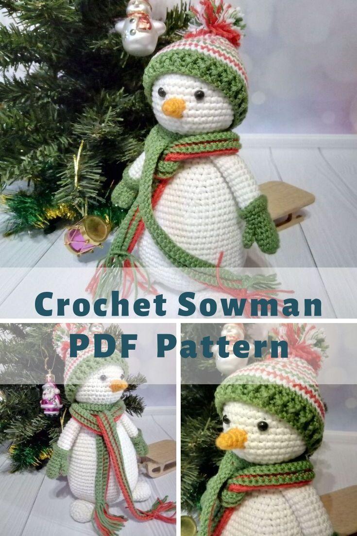 Crochet Snowman Pattern Diy Christmas Toy Decoration Pdf Etsy In 2021 Crochet Snowman Fall Crochet Patterns Christmas Crochet Patterns