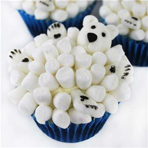 Polar Bear Marshmallow Cupcakes