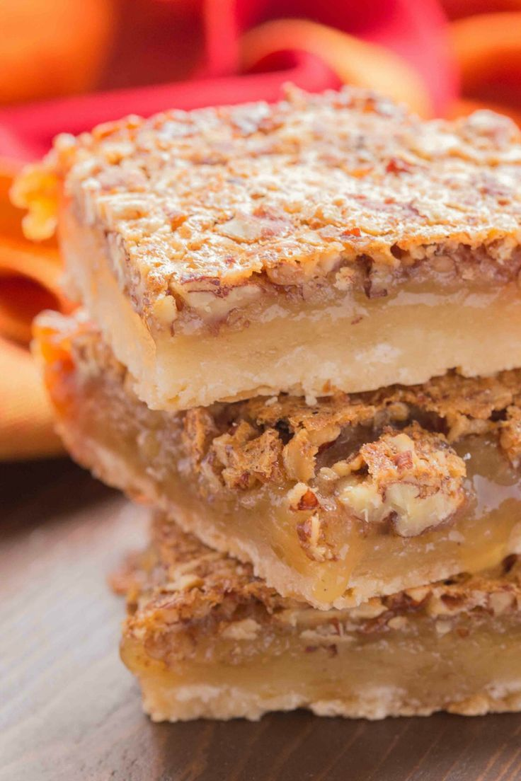 Pecan Pie Bars are easier to serve and taste even better than traditional pecan pie!
