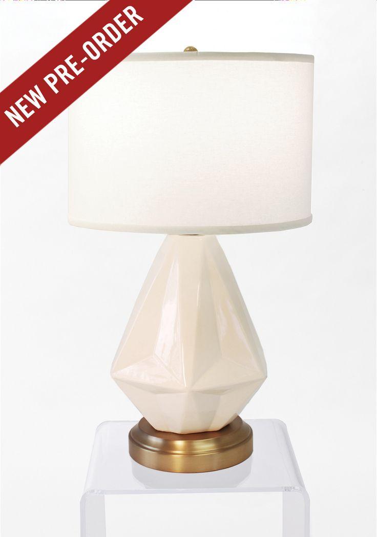 Prisma White On Brass Cordless Lamp