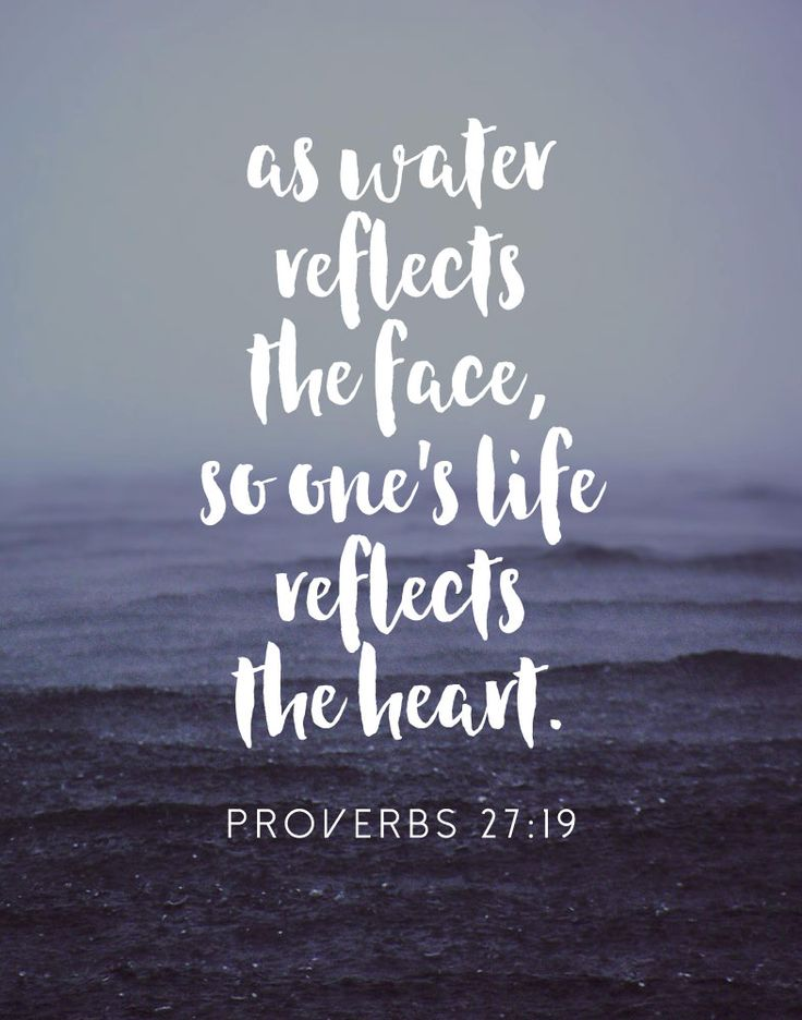 s water reflects the face, so one's life reflects the heart. Proverbs 27:19 The way we live says a lot. Our actions reflect what's in our heart. That's why it's so important to fill our hearts with kindness, love, compassion, grace and forgiveness. When we read the bible and talk to God our relationship with Him grows and our hearts overflow with goodness that we can pour out onto others. #proverbs27