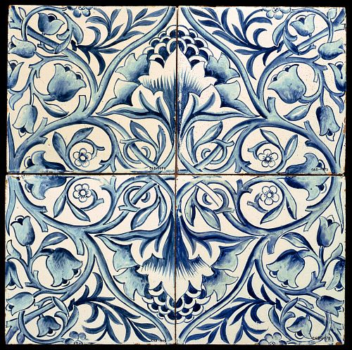 "Floral tile, by William Morris (1834-96). Tin-glazed earthenware. England, 1875.""  © Victoria and Albert Museum, London"