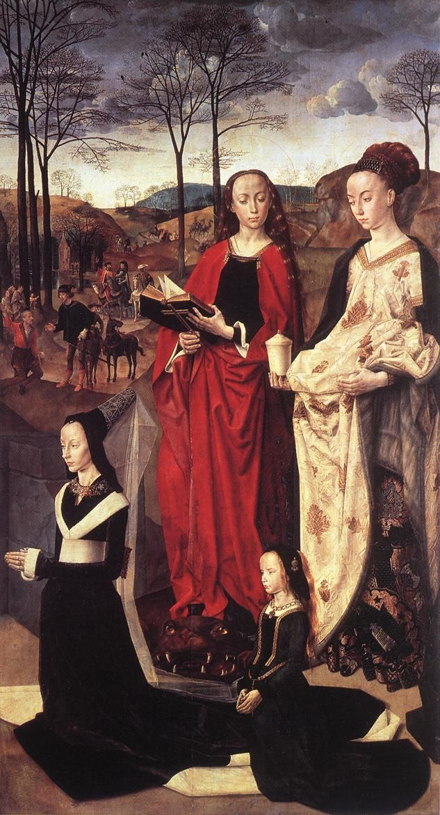 """Maria Bonciani ( portinari ) with her daughter Margherita and Saints Margaret and Mary Magdalen"" (Right Panel of the Portinari Tryptich) by Hugo Van Der Goes (Dutch, 1436-1482)"