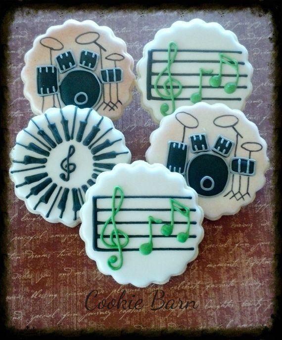 Música tambor teclado personalizado decorado galletas de azúcar