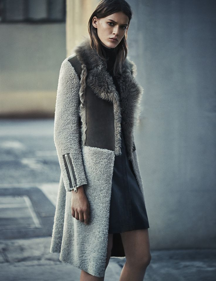 ALL SAINTS WOMEN'S LOOKBOOK AUTUMN 2015 LOOK 3. The Marina Shearling Coat, Albar Roll Neck and Gil Leather Shirt