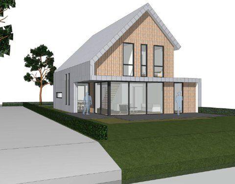 variaties op hetzelfde thema...asymetrisch dak dat visueel wordt doorgevouwen in het aanzicht.