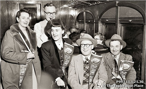 Travellers on board the first PGE train to Prince George in 1952. My sister and I rode this very train from Quesnel to Prince George