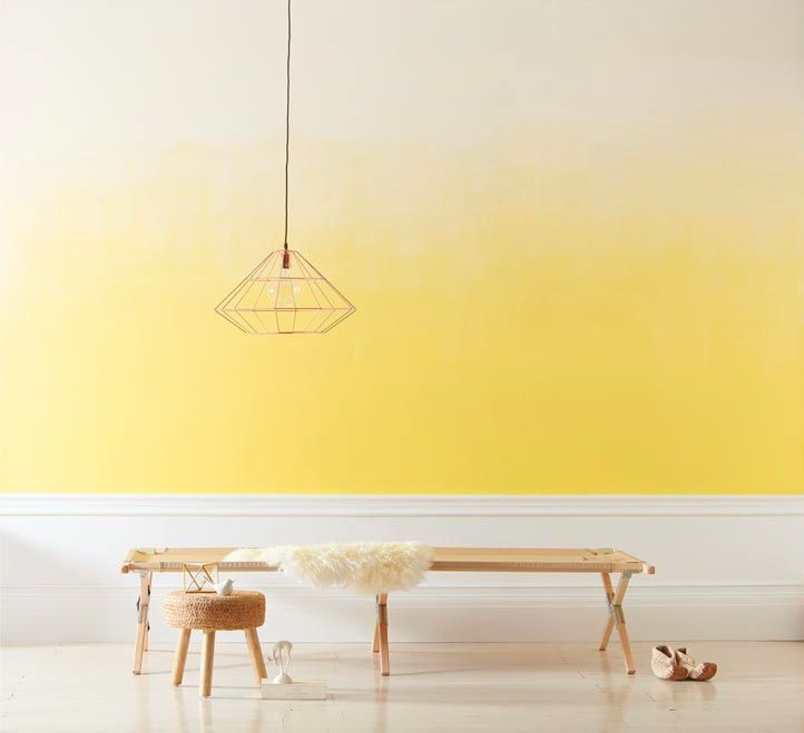 Yellow ombre wall and the 5 simple steps to painting an ombre wall from RedOnline.co.uk