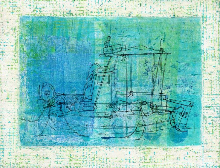 Shimmering Boat - Mixed-media original art, giclee prints and top notch canvas reproductions inspired by Greece and the Mediterranean😎 Gill Tomlinson Art.