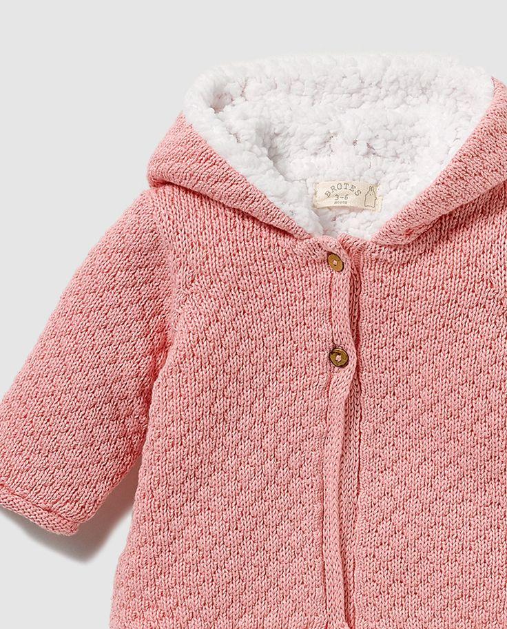 Abrigo de bebé niña Brotes en rosa con capucha