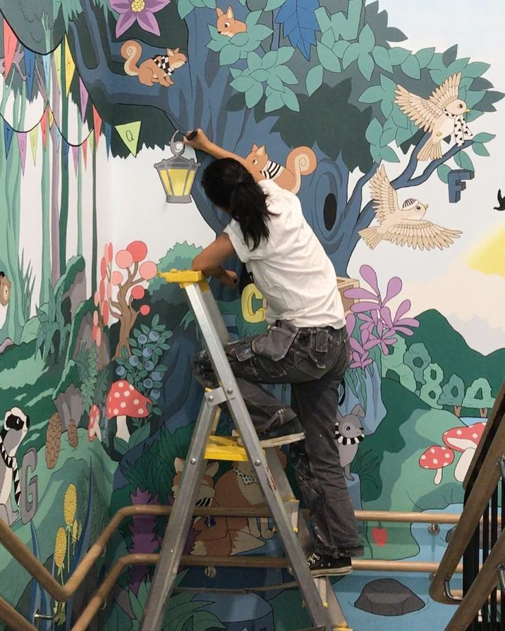 Work mode  #wip #wallpainting #väggmålning #förskola #målning #barn #kids #mural #art #konst  #sagoskog #fairytale #enchantedforest #colorful #inspo #animals #magic #color #färg #graphic #inspiration #beautiful #artwork #illustration #picoftheday #fun #instacool #painting #graphic #instadecor #huehuynh