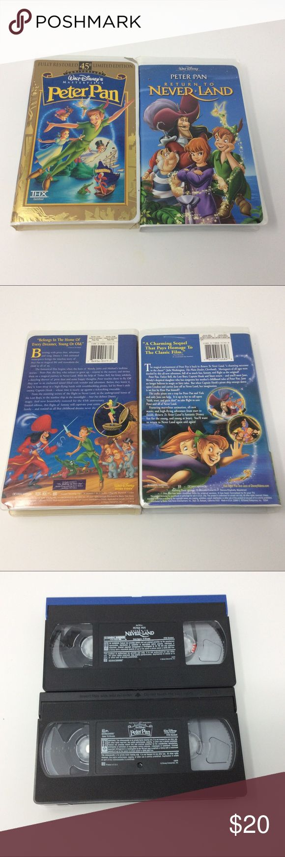 Disney's Peter Pan VHS Set This Disney set includes one masterpiece Peter Pan, and return to Neverland video. Disney Other