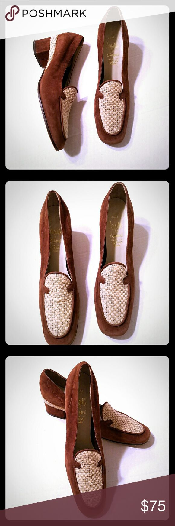 """🎉HP🎉 Sz 9AAA VTG Amalfi Rangoni Italian Loafers Amalfi by Rangoni Made in Italy ORBE Vintage Loafer Heels Brown Suede Sz 9AAA A rusty brown Suede with neutral woven accents Small mark on heel as shown  Size 9AAA NARROW  Heel height 1 3/4""""  See pictures for more detail Amalfi  Shoes Heels"""