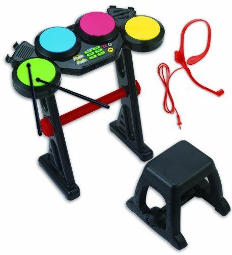 "Winfun Kids Fun Electronic Drum Set by Winfun. $36.85. Has speaker plug for your MP3 player. Has built in deom songs. Includes drum sticks, stand and stoolHeadset microphone. Has 4 drum pads. 6 Rhythm selections and ""stop"" function. From the Manufacturer                Kids Fun Electronic Drum set has 4 drum pads and an MP3 speaker dock. 6 rhythm selections and ""stop"" function. Built in Deom songs and volume and tempo contrl. Headset microphone for sing along fun included. ..."