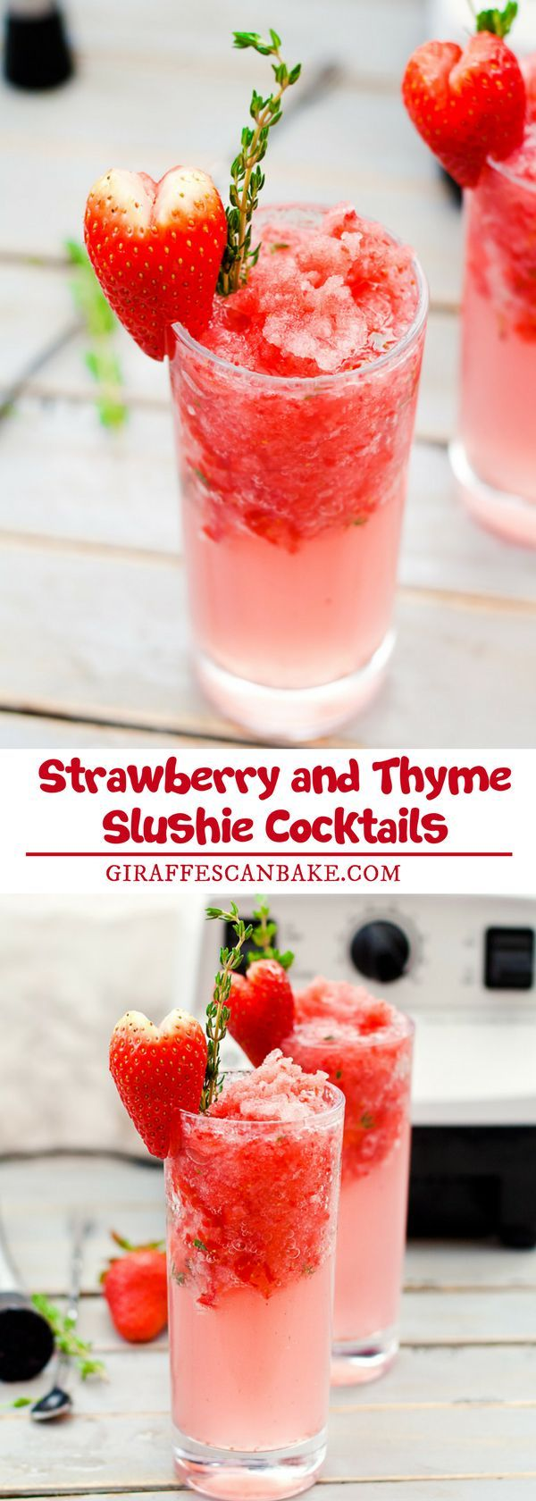 Are you looking for some easy cocktail recipe? These Strawberry and Thyme Slushie Cocktails are not only gorgeous, they're totally delicious too. Sweet strawberries are muddled with aromatic thyme and white rum, add some crushed strawberry ice and soda water and you have the perfect Valentine's Day cocktail to share with your sweetheart. #drinks #cocktails #valentinesday