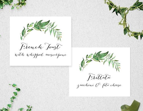 PRINTABLE FOOD LABELS INSTANT DOWNLOAD  This item is available for you to instantly download after purchasing. Print your own food labels, perfect for a party, greenery themed wedding or bridal shower! This item is an ideal do-it-yourself Food Label tent style card to add a special touch to your celebration! You can print your own food labels at home or at your local print shop. Edit wording easily and change to whatever you would like! Simply change the t...