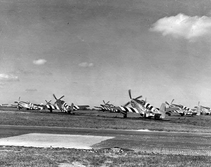 """https://flic.kr/p/5fsCLq   P-51 Mustangs, 361st Fighter Group   P-51's of the 376th Fighter Squadron, 361st Fighter Group prepare to take-off. (U.S. Air Force photo) I've been able to I.D. two of these planes. The one nearest the camera is """"Sleepytime Gal"""" a P-51B-10-NA coded E9-S flown by Lt. Clarence Sullivan. Just to it's right is """"Smokey"""" a P-51B-15-NA coded E9-V flown by Lt. Col. Rosewell Freedman. """"Sleepytime Gal"""" was later damaged in a landing accident on Oct. 13,1944 and """"Smokey"""" was…"""