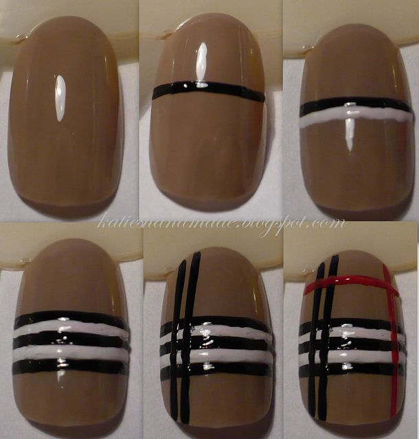 How to do Burberry nails: @Rachel Brennan - this could have come in handy last year lol!
