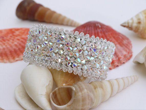 Swarovski Crystal Bridal Bracelet Swarovski Cuff by DesignByIrenne