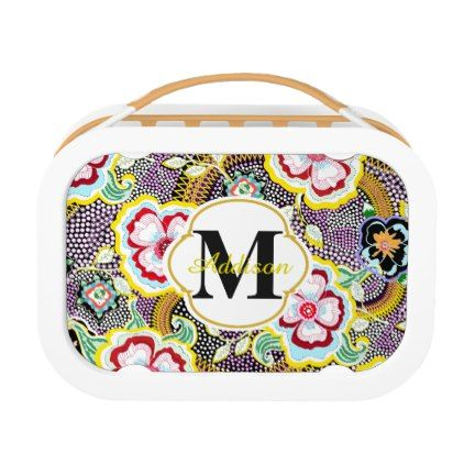 #floral - #Elegant Floral Rose Victorian Polka Dot Pattern Lunch Box