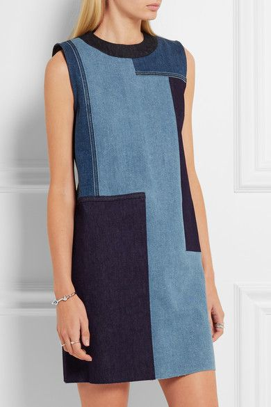 Victoria, Victoria Beckham | Patchwork denim mini dress | NET-A-PORTER.COM